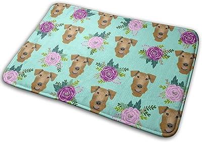 """Airedale Terrier Floral Cute Dog Pattern Mint_19465 Doormat Entrance Mat Floor Mat Rug Indoor/Outdoor/Front Door/Bathroom Mats Rubber Non Slip 23.6"""" X 15.8"""""""
