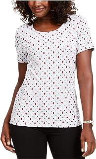 KAREN SCOTT Womens Gray Polka Dot Short Sleeve Jewel Neck T-Shirt Top AU Size:10