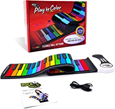 Rock And Roll It - Play by Color Piano [Special Edition]. Portable & Flexible 49 Color Coded Standard Keys + Play-by-Color Song Book. Battery Or USB Powered. Great Choice!