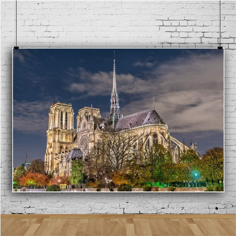 OERJU 12x10ft Notre Dame Cathedral Night View Backdrop France Landmark Bridal Shower Photography Background Wedding Ceremony Party Decor Kids Adults Artistic Photo Prop YouTube Video Shoot Wallpaper