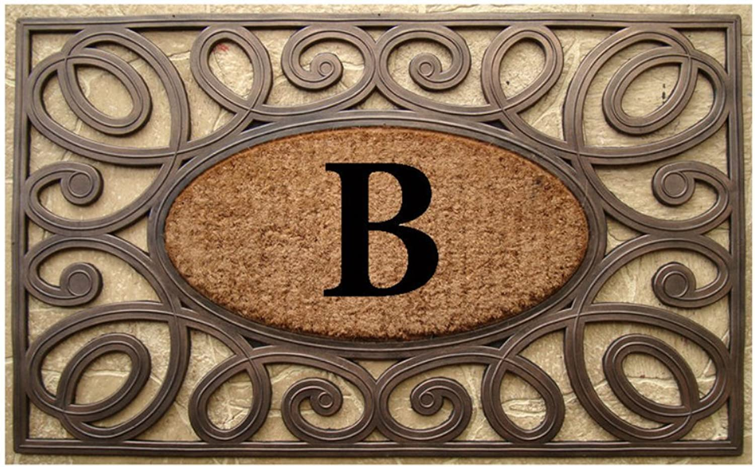 A1 HOME COLLECTIONS Rubber and Coir Elegant Circles Princess Large Doormat (23 X 38)-Monogrammed B(A1HOME200082-B)