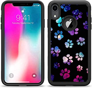 SunCases Hybrid Case for iPhone XR - Galaxy Paw Foot Prints Hard Anti Scratch Resistance with Full Protection Cover