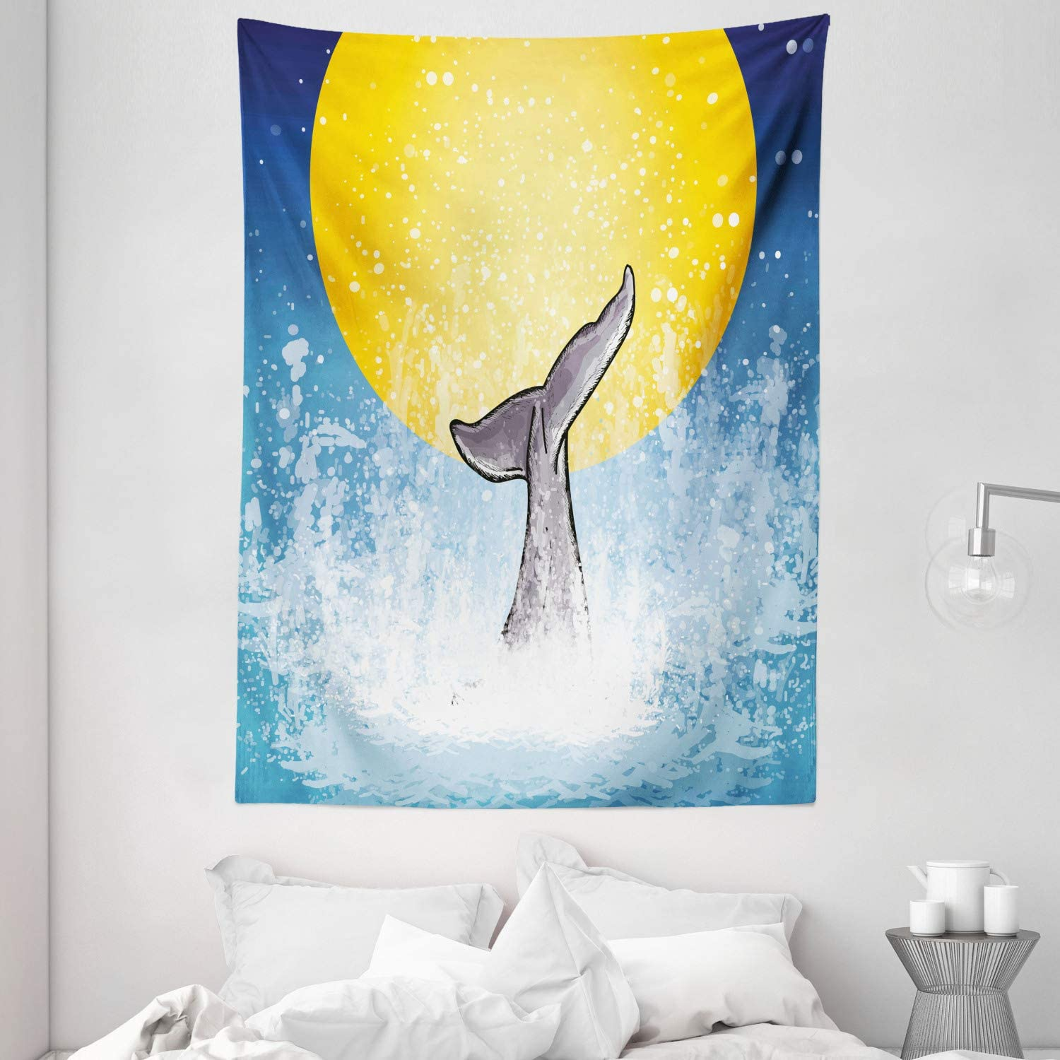 Amazon Com Ambesonne Whale Tapestry Whales Tail In Ocean On Full Moon Diving In Water Swimmer Marine Animal Print Wall Hanging For Bedroom Living Room Dorm Decor 40 X 60 Yellow Grey Blue