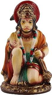 VintFlea 'Handmade God Hanuman Statue' Devotee of Lord Rama Altar, Bajrang Bali, Indian Religious Figurine, by Resin Marble Work Idol Sculpture, for Car Dashborad Showpiece - 5 x 9 x 4.5 cms