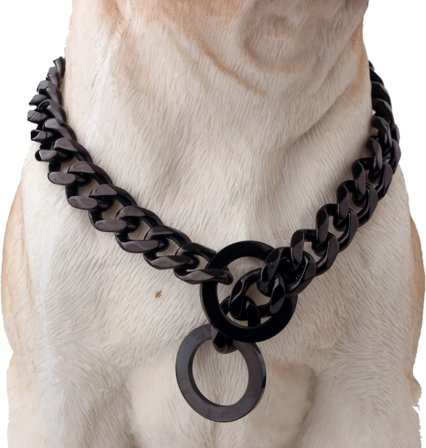 12 15 17 19mm Wide Black Plated Stainless Steel Curb Link Chain Pet GOG Collars Choke for Pit Bull, Mastiff, Bulldog, Big Breeds,1236  (15mm Wide, 26inch)