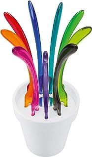 Koziol PIC UP - Set de 9 pinchos para aperitivos/tapas, colores variados, encajados en maceta, color blanco