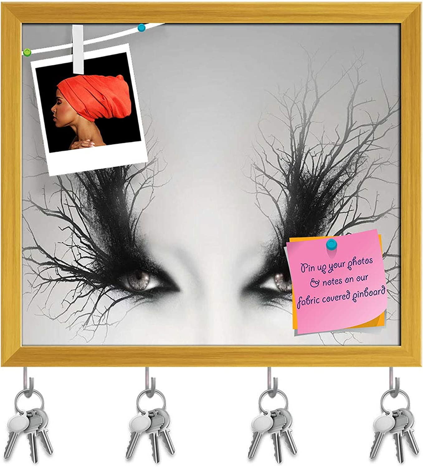 Artzfolio Artistic Female Eyes with Branches D2 Key Holder Hooks   Notice Pin Board   golden Frame 18.6 X 16Inch