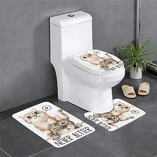 バスマット トイレマット 3点 セット タンクカバー 猫 二匹 キュート ペット かわいい お風呂マット 足ふきマット トイレカバー トイレセット マイクロファイバー 浴室 大判 おしゃれ 吸水性優れ 滑り止め 快適 かわいい