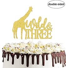Wild &Three Giraffe Cake Topper Safari Jungle Animal Happy 3rd Birthday Cake Decor, Third Birthday Baby Shower Party Decorations