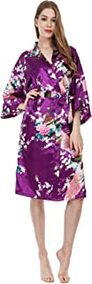MISSFASHION Women's Kimono Robe Peacock & Blossoms Satin Nightwear