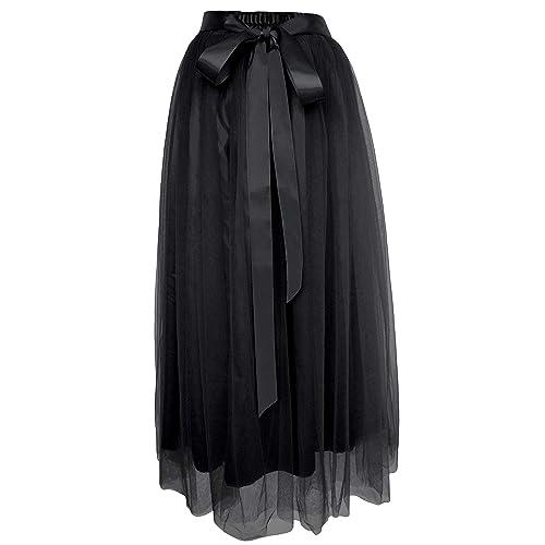 4d1654c7b8b Dancina Women s Ankle Length Tutu Maxi A-line Long Tulle Skirt for Dates  Weddings