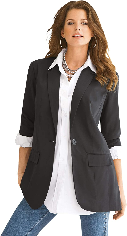 Roamans Women's Plus Size Louisville-Jefferson County Mall 25% OFF Blazer Jacket Professional Boyfriend