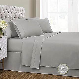 Sharry HOME LINEN Queen Bed Sheets Set 6 Piece- Deep Pocket,Hypoallergenic, Ultra Soft,Wrinkle Resistant (Ash Grey, Queen)