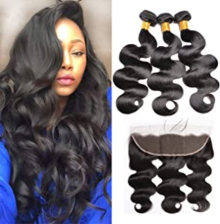 Body Wave Brazilian Hair Bundles 20 22 24 With 18 Inch 13x4 Lace Frontal,MSGEM Beauty Supply Body Wave Pre Plucked Lace Frontal Hair Weave Human Hair Bundles