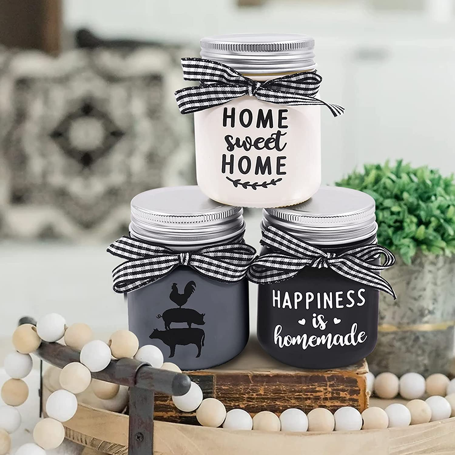 Farmhouse Mini Mason Jar Decoration Farmhouse Tiered Tray Decor Country Rustic Dining Table Decor for Kitchen Centerpieces Black&White Home Sweet Home Sign Happiness Homemade Farm Animal Set of 3