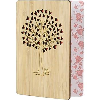 EKKONG Gefertigte Bambuskarte Beschreibbare mit Herz Baum, Geschenk für jeden Anlass - Grußkarte für Hochzeitstag, Geburtstag, Jubiläum Karte