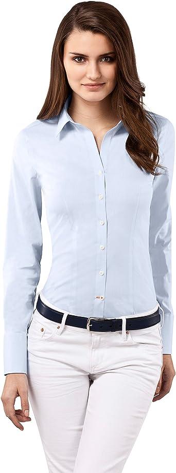 Vincenzo Boretti Camisa de Mujer Elegante y clásica, Ajustada Entallado (Slim-fit), Mezcla de algodón, Ligeramente elástica, Manga-Larga, Cuello Kent, ...