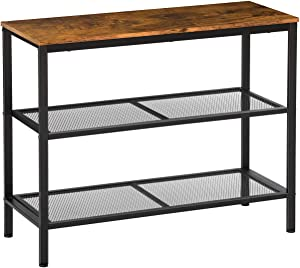 KICODE Console Table Sofa Table Entryway Industrial Side Table with 2 Iron Mesh Storage Shelves for Living Room Corridor and Bedroom
