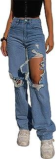 Pantalones de mezclilla para mujer, estilo casual, destruido, estilo novio, de pierna recta, con corte de bota, color azul