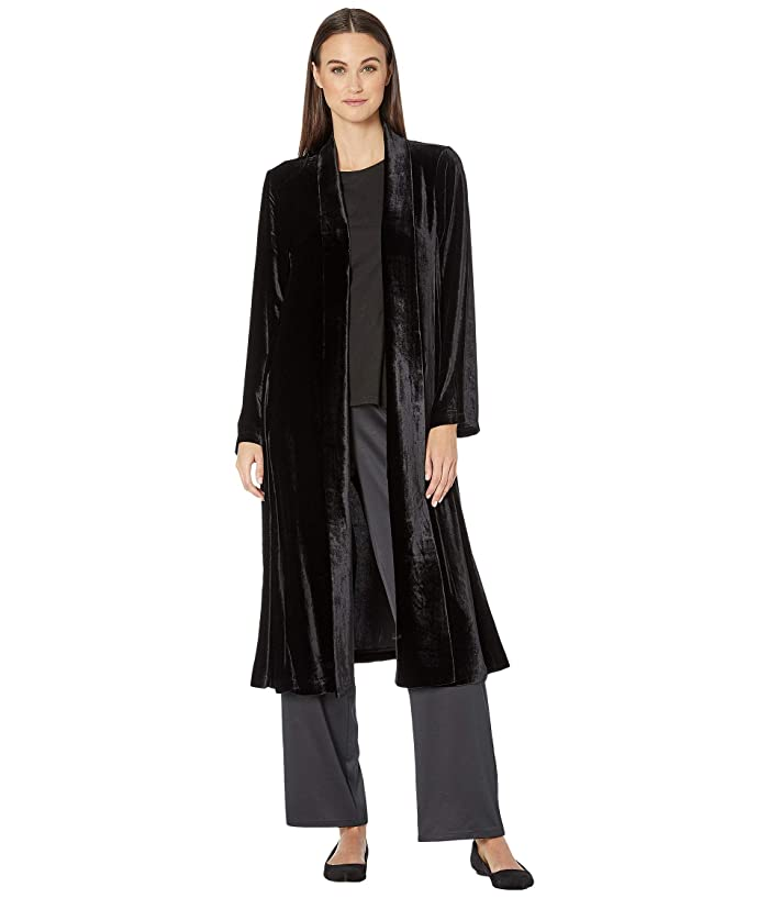 Vintage Coats & Jackets | Retro Coats and Jackets Eileen Fisher Velvet Shawl Collar Jacket Black Womens Clothing $438.00 AT vintagedancer.com
