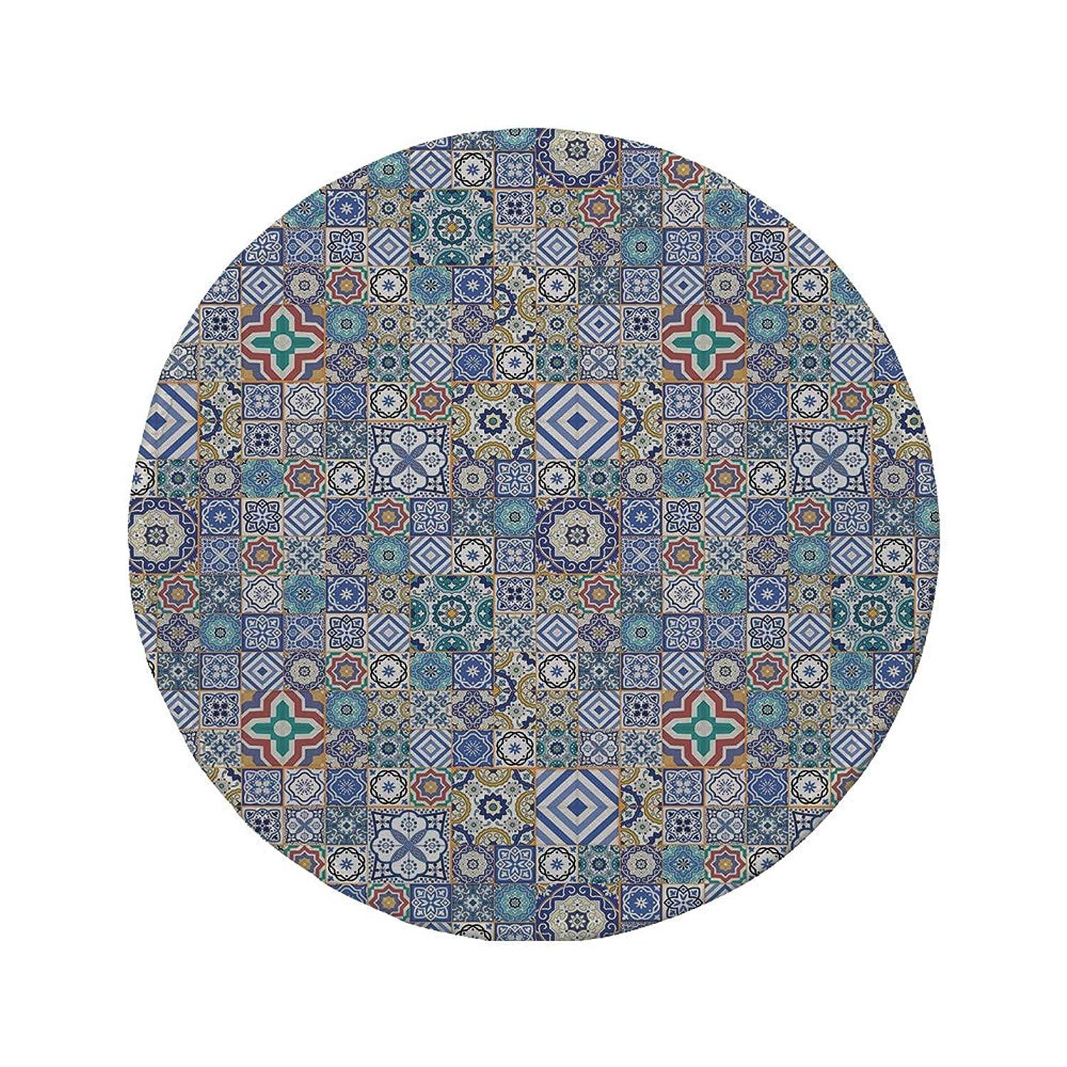 Non-Slip Rubber Round Mouse Pad,Moroccan,Grid Style Squares Ornamental Geometric Elements Oriental Culture Illustration,Multicolor,7.87