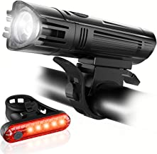 Ascher Ultra Bright USB Rechargeable Bike Light Set, Powerful Bicycle Front Headlight and Back Taillight, 4 Light Modes, Water Resistant, Easy to Install for Men Women Kids Road Mountain Cycling