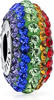 Inspirational Heart Rainbow Gay Pride LGBT Symbol Crystal Bead Charm For Women 925 Sterling Silver Fits Pandora