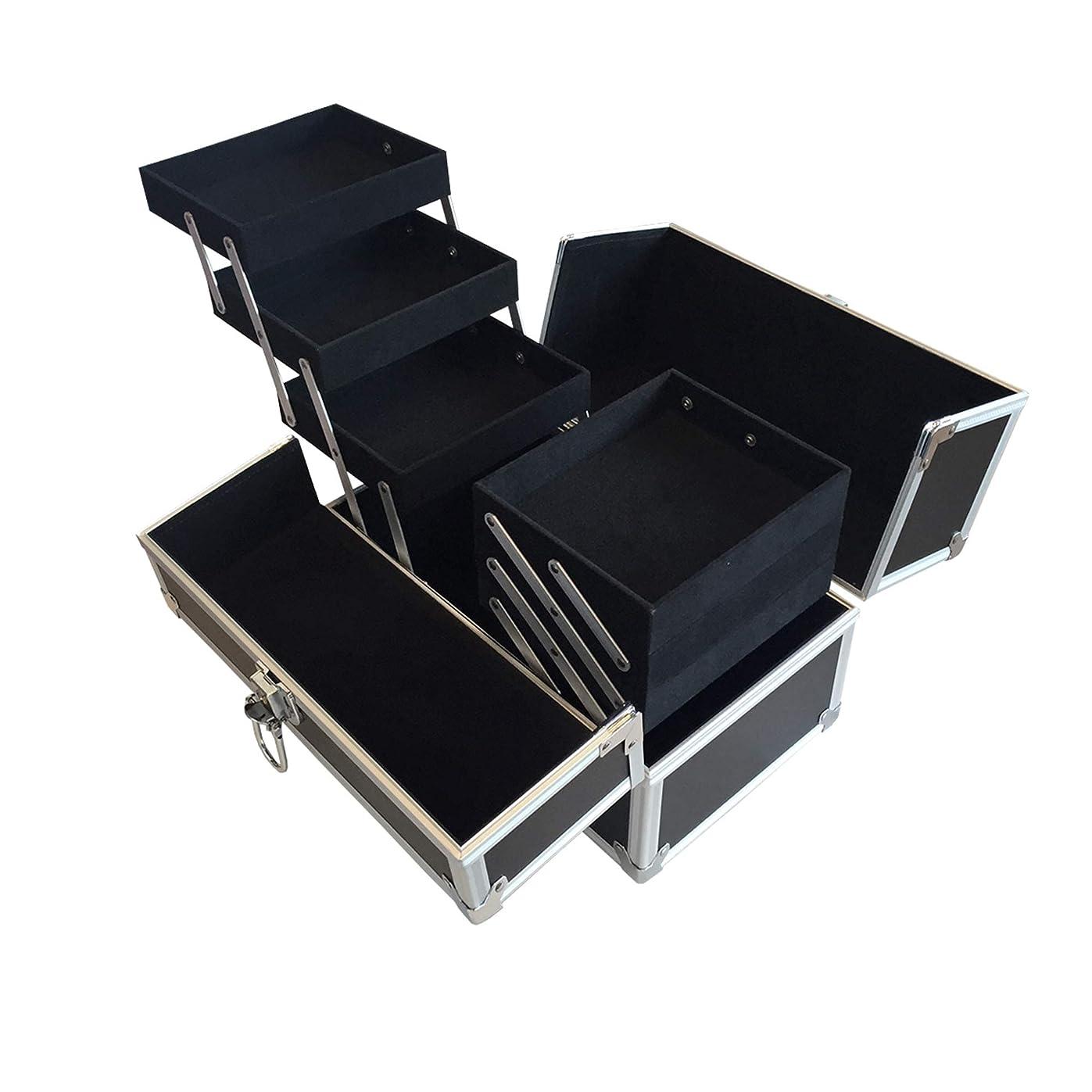 ビン狂信者安息リライアブル コスメボックス RB001-BK 鍵付き プロ仕様 メイクボックス 大容量 化粧品収納 小物入れ 6段トレー ベロア メイクケース コスメBOX 持ち運び ネイルケース
