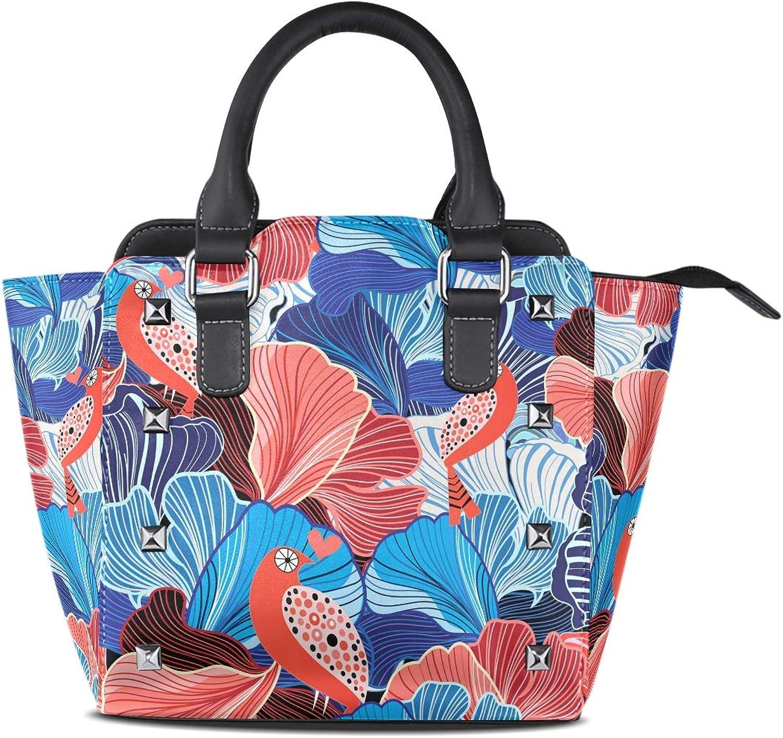 My Little Nest Women's Top Handle Satchel Handbag Abstract Bird Ladies PU Leather Shoulder Bag Crossbody Bag
