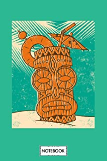 Retro Tiki Cocktail On A Beach Notebook: Planner, Journal, Diary, 6x9 120 Pages, Matte Finish Cover, Lined College Ruled P...