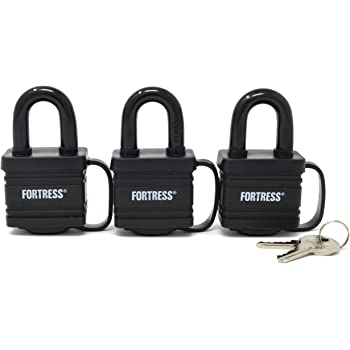 Master Lock 1804TRI Fortress Series Covered Laminated Weatherproof Padlocks, 1-9/16-Inch, Pack of 3