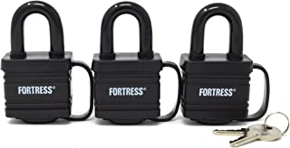 Master Lock 1804TRI Fortress Series Covered Laminated Weatherproof Padlocks, 1-9/16-Inch, Pack of 3