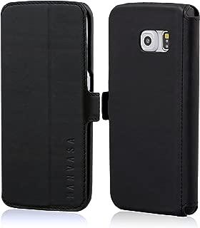 Samsung Galaxy S6 Edge Leather Case Flip Cover Black - KANVASA
