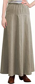 Baby'O Clothing Co. Womens Basic Ultra Soft Lightweight Denim Fit and Flare A-Line Maxi Skirt
