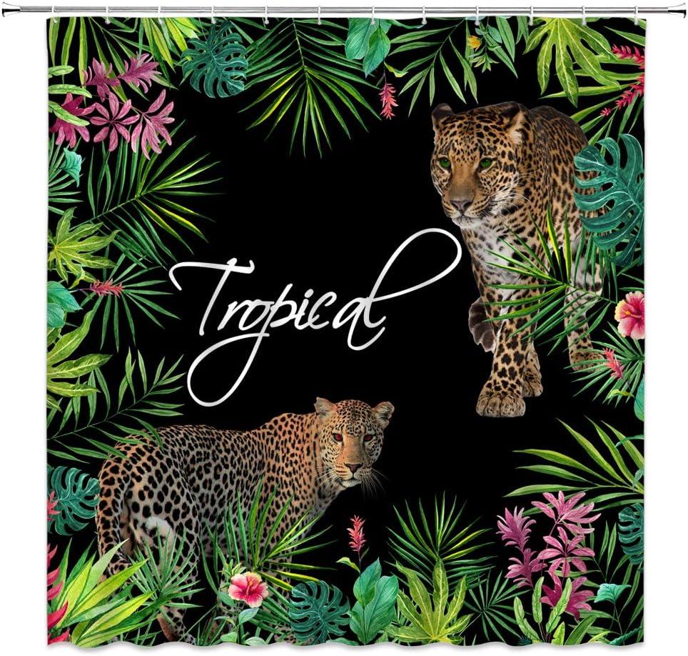 人気ブランド Leopard Shower Curtain Asian Wildlife 大決算セール Cheetah Tig Animal