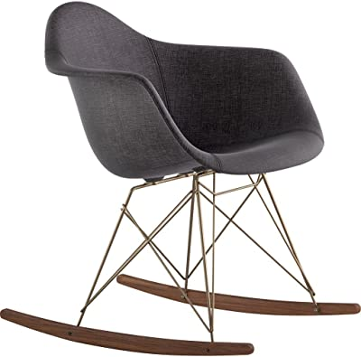NyeKoncept 332008RO2 Mid Century Rocker Chair, Charcoal Gray
