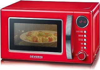 SEVERIN Four Micro-ondes, Gril, 20 L, jusqu'à 1 000W, 5 niveaux de puissance, Affichage numérique, Design rétro, Rouge, MW...