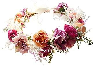 Adjustable Flower Headband Hair Wreath Floral Garland Crown Halo Headpiece with Ribbon Boho Wedding Festival