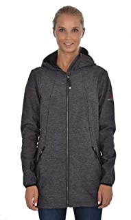 Womens Heather Stretch Softshell Hooded Zip-Front Jacket