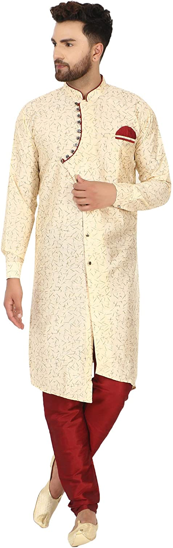 SKAVIJ Men's Tunic Art Silk Indian 5% OFF Kurta Max 71% OFF Pajama Traditional Suit