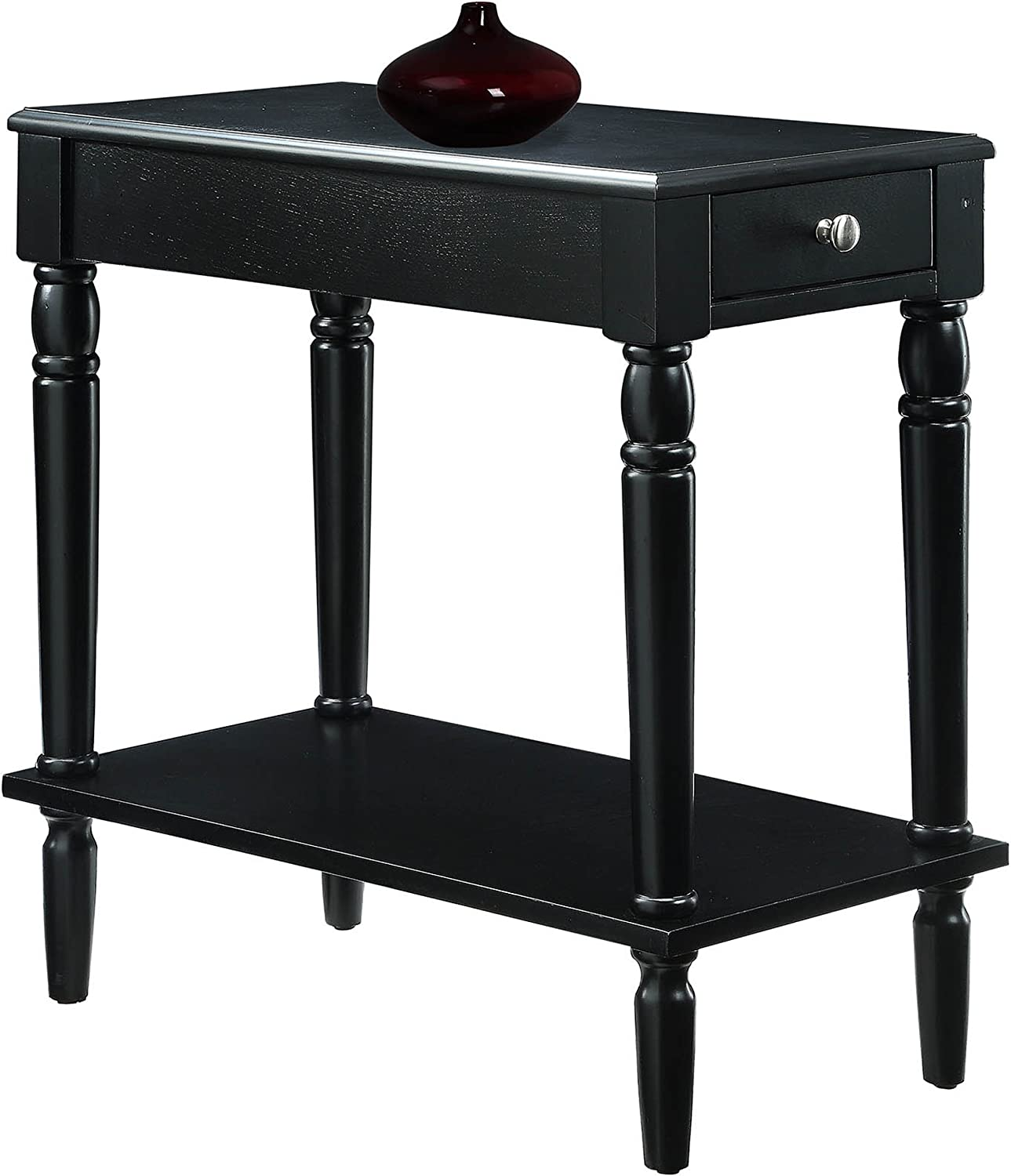 Convenience Concepts French Country No Tools Chairside Table, Black