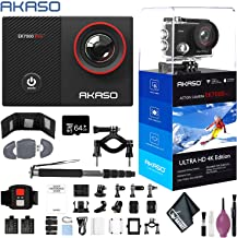 """$94 » AKASO EK7000 Pro 4K Action Camera Touch Screen EIS Adjustable View Angle Waterproof Remote Control Sports Helmet Accessories - 64GB - Action Camera Bike BAR/SEATPOST KIT - Monopod 70"""""""