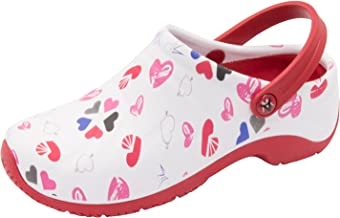 Anywear Women's Zone Health Care Professional Shoe, Multi Heart/White/red,