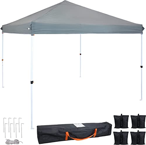 popular Sunnydaze 10- x 10-Foot lowest Standard Pop Up Canopy with Carry Bag and Sandbags - Heavy Duty Portable Straight Leg Folding Outdoor Shade Shelter - Perfect for Tailgating, Parties and Markets - online Gray sale