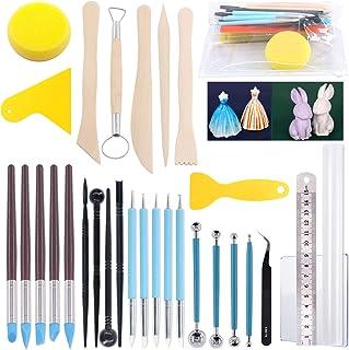 Keadic 31 PCS Polymer Modeling Clay Sculpting Tools Set, Ball Stylus Dotting Tools & Ceramic Pottery & Clay Ribbon Wood Mo...