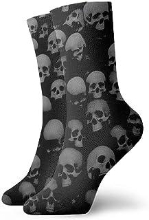 Be-ryl, Cráneos Grises y Negros Head Calcetines de la Novedad de la tripulación Calcetines atléticos Medias 30CM