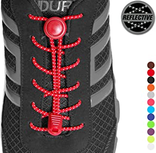 Stout Gears Reflective No Tie Shoelaces Lock System - Elastic Shoelaces for Sneakers (1 Pair)
