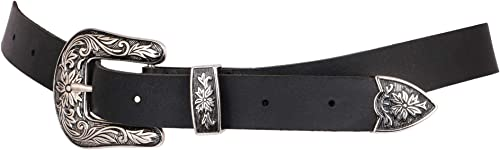 TRYSCO Pure Genuine Leather 2.3 CM Width BLACK &BROWN Belt for Jeans/Shorts/Skirts (Gender- Girls and Women)