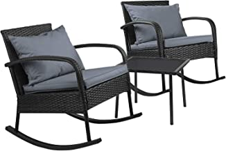 Gardeon Outdoor Racking Chair Rattan Wicker Furniture Table Garden Patio Backyard-Black