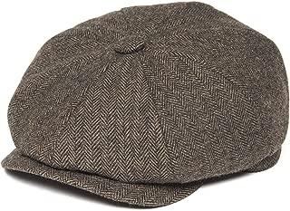 Men's 8 Piece Wool Blend Newsboy Flat Cap Herringbone Pattern in Classic 5 Colors